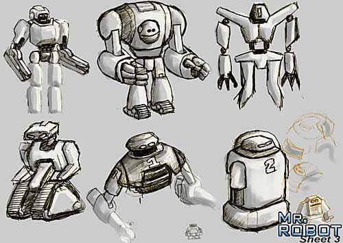 Mr. Robot: Robot Thumbail Concept drawings