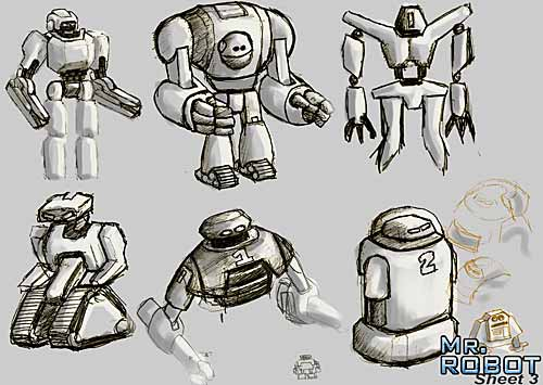 Mr. Robot: Robot Thumbail Concept drawings